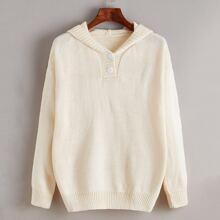 Einfarbiger Pullover mit sehr tief angesetzter Schulterpartie und Kapuze