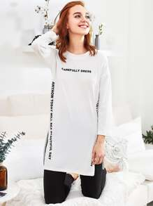 Slogan Graphic Slit Side Long Pajama Set