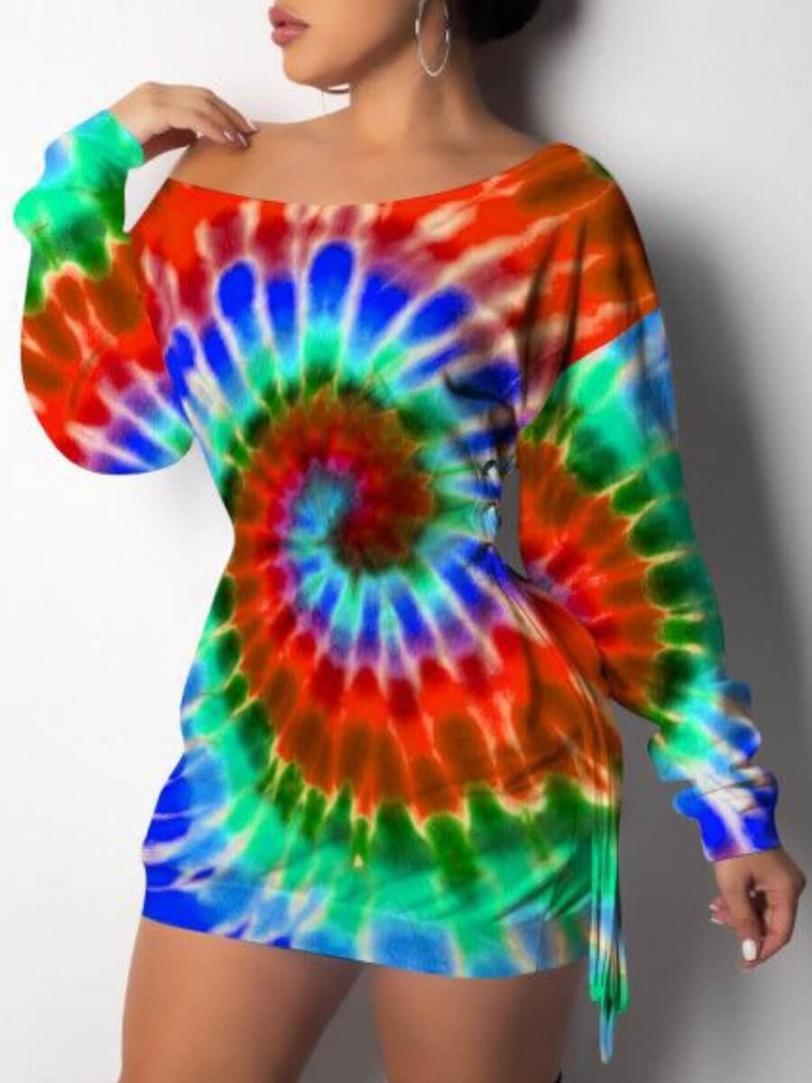 LW Lovely Casual Dropped Shoulder Rainbow Print Red Mini Dress