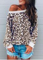 Leopard Long Sleeve Casual Sweatshirt