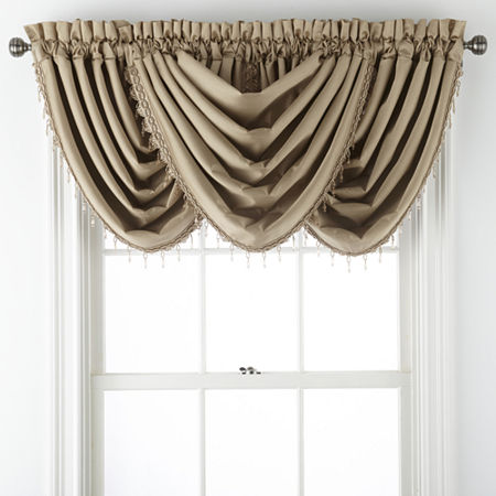 JCPenney Home Malone Rod-Pocket Waterfall Valance, One Size , Beige