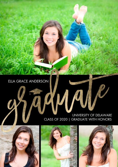 2020 Graduation Announcements 5x7 Cards, Premium Cardstock 120lb with Scalloped Corners, Card & Stationery -Graduate Handwritten by Tumbalina
