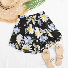 Shorts mit Taillenband, Blumen Muster und breitem Beinschnitt