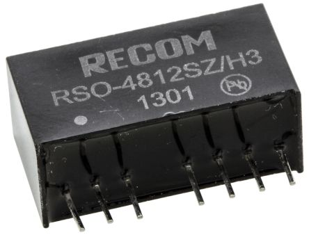 Recom RSO 1W Isolated DC-DC Converter Through Hole, Voltage in 18 → 72 V dc, Voltage out 12V dc Medical Approved