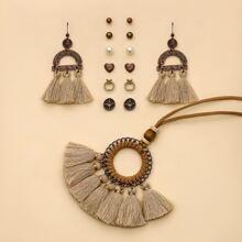 7 Paare Ohrringe mit Quasten Dekor & 1 Stueck Halskette mit Quasten