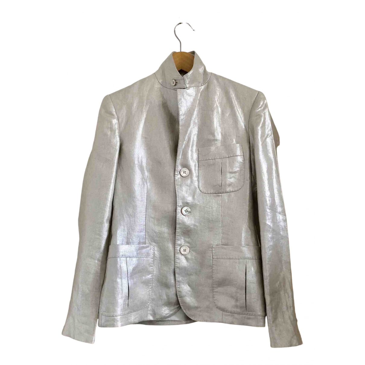 Ralph Lauren N Silver Linen jacket for Women 6 US