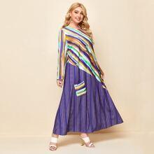 Kleid mit Streifen und Taschen Flicken