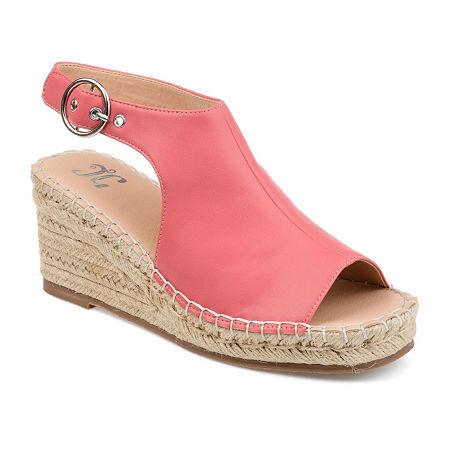 Journee Collection Womens Crew Wedge Sandals, 8 1/2 Medium, Pink