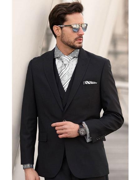 Mens 1 Button Single Breasted Wool Black Peak Lapel Suit