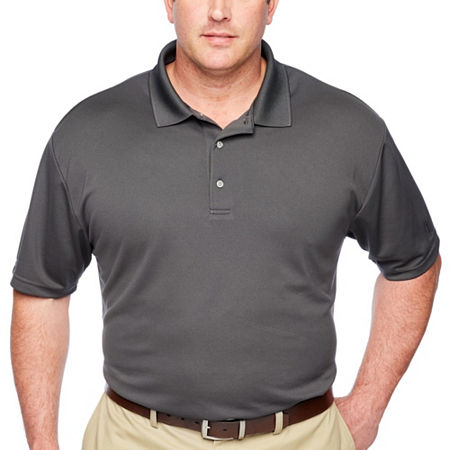 PGA TOUR Short Sleeve Airflux Solid Polo- Big & Tall, X-large Tall , Gray