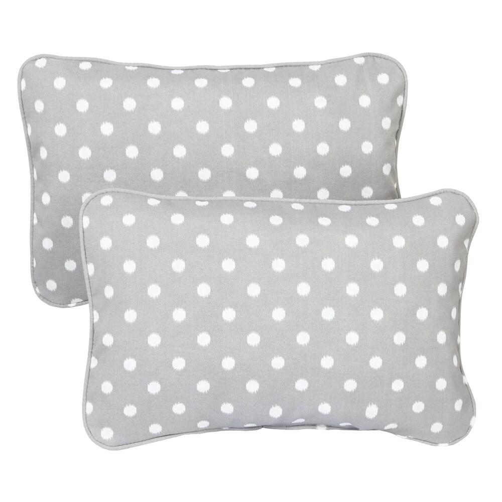 Grey Dots Corded 13 x 20 inch Indoor/ Outdoor Throw Pillows (Set of 2) (12 in x 18 in)