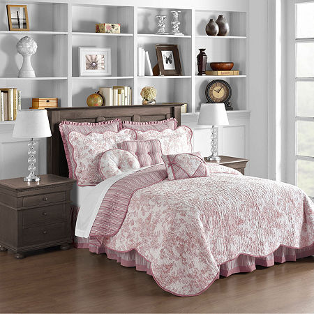 Toile Garden Bedskirt, One Size , Pink