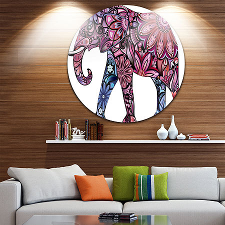 Design Art Purple Cheerful Elephant Disc Animal Circle Metal Wall Art, One Size , Purple