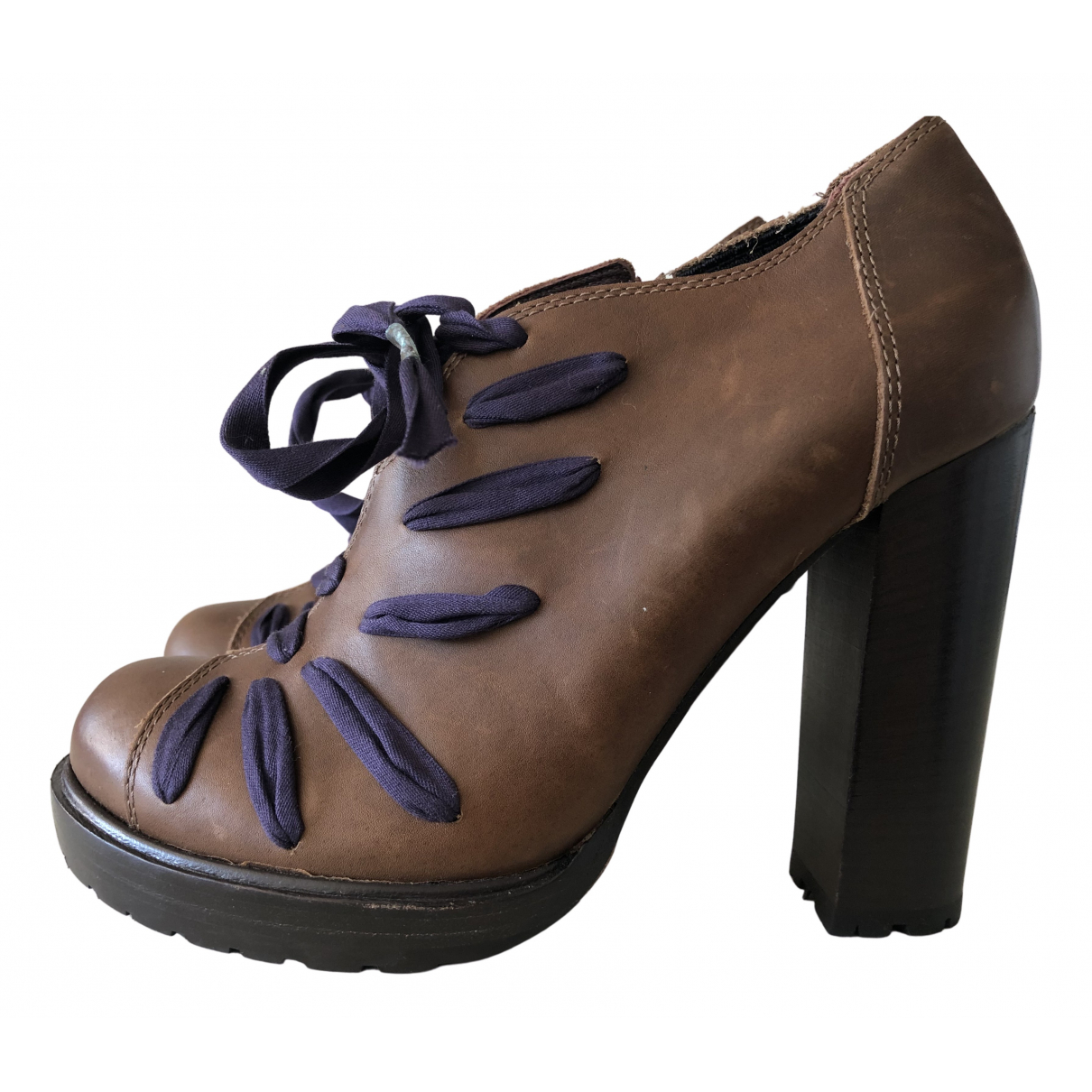 Vanessa Bruno N Brown Leather Lace ups for Women 37 EU
