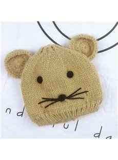 Cute Domed Knitted Brimless Mouse-ear Winter Baby Hat