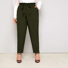 Plus Belted Paper Bag Waist Pants