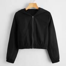 Solid Zip Up Crop Jacket