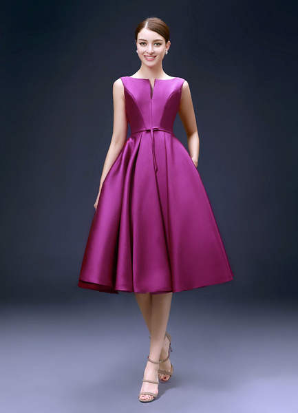 Milanoo Backless Cocktail Dress Bateau Satin Mother Of The Bride Dress Notched Neckline A Line Pleated Knee Length Wedding Guest Dresses wedding guest