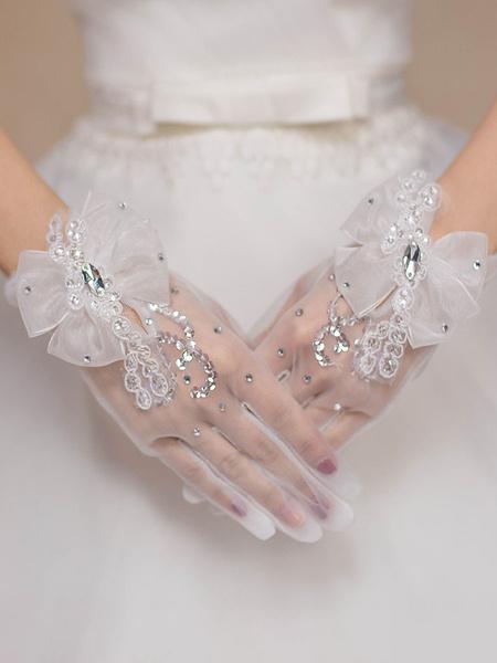 Milanoo Wedding Gloves Polyester BeadedRhinestones Bridal Gloves