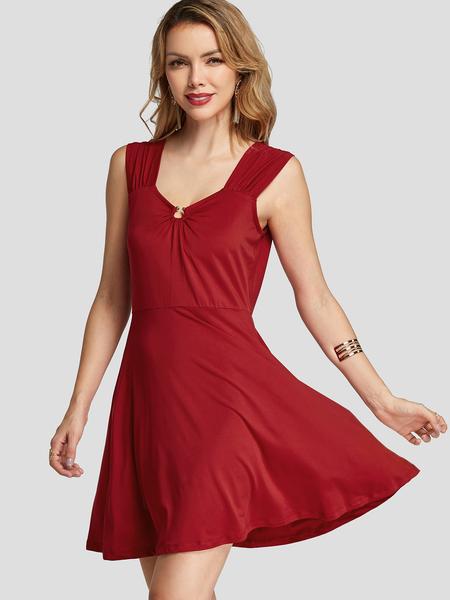 YOINS Red Wrap Design Tight Waist DRESSES