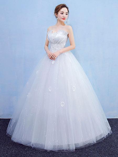 Milanoo Ball Gown Wedding Dresses Strapless Lace Beading Princess Bridal Dress