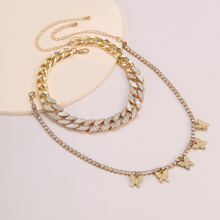 2pcs Rhinestone Decor Necklace
