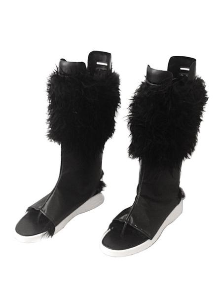 Milanoo Demon Slayer: Kimetsu No Yaiba Cosplay Shoes Hashibira Inosuke Black Cosplay Boots