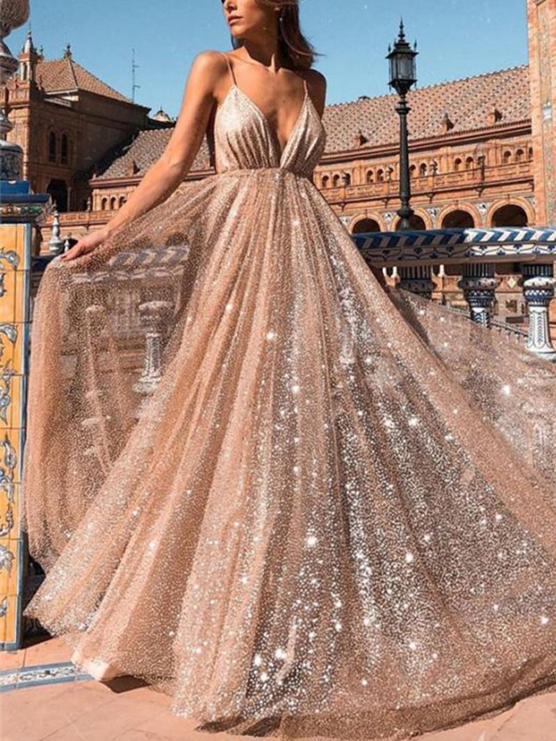 Ericdress Spaghetti Straps Sequins A-Line Evening Dress 2020