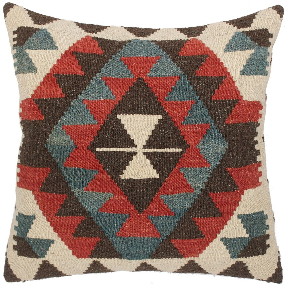 Tribal Bari Hand-Woven Turkish Kilim Throw Pillow 19 in. x 20 in. (Accent - 19 in. x 20 in. - Polyester - Red - Single)