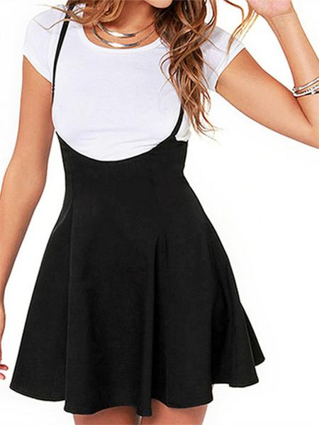 Yoins iMars Black Adjustable Shoulder Straps Zip Back Sleeveless Dress