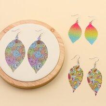 3pairs Leaf Drop Earrings