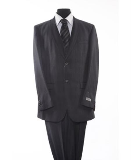 Mens 2 Piece 2 Button Black Suit