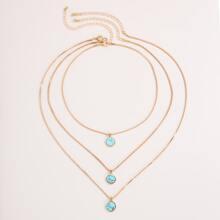 3pcs Stone Charm Necklace