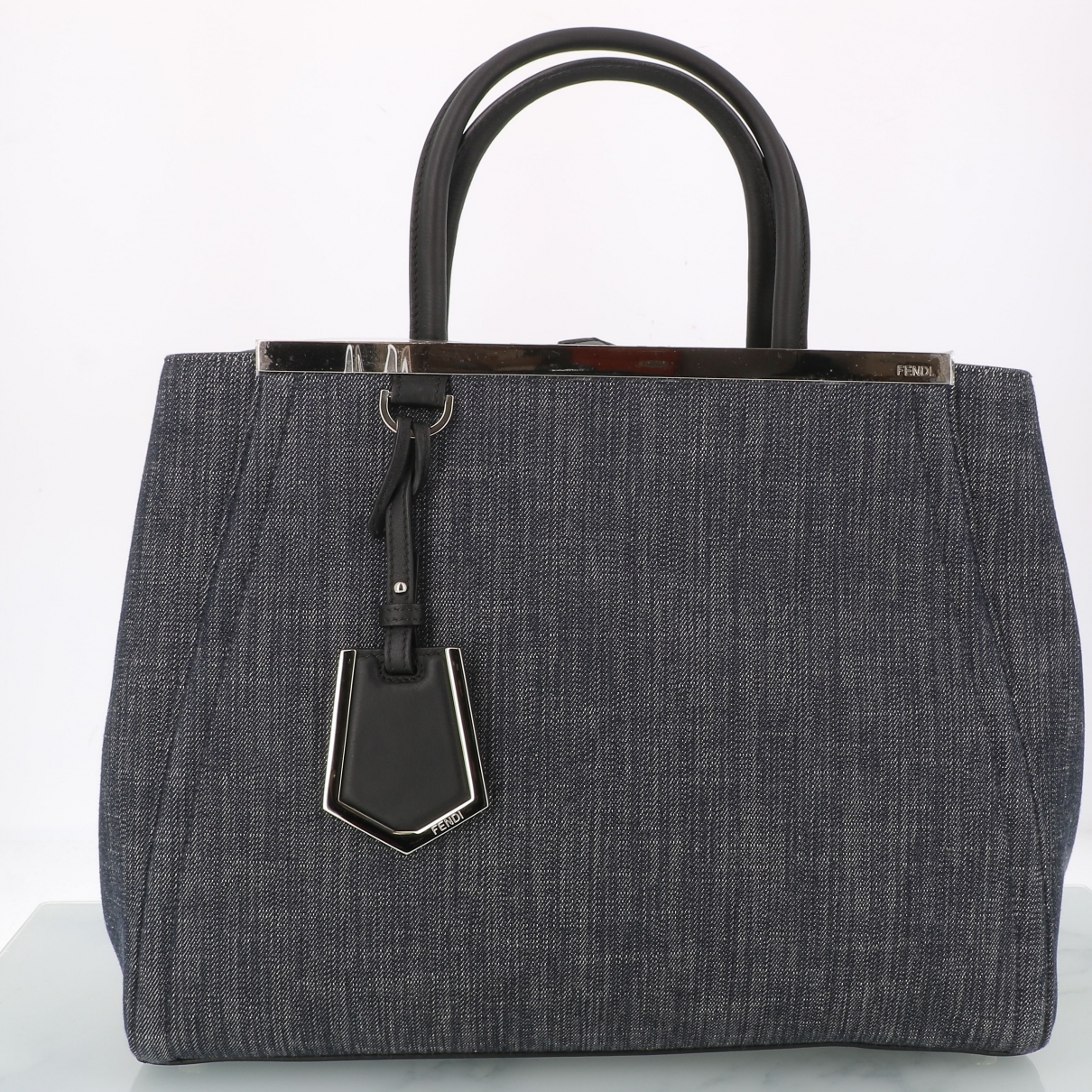 Fendi 2Jours Handtasche in  Schwarz Denim - Jeans