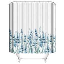 Duschvorhang mit Blumen Muster & 12 Haken