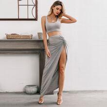 Glamaker Heathered Knit Crop Top & High-Slit Maxi Skirt