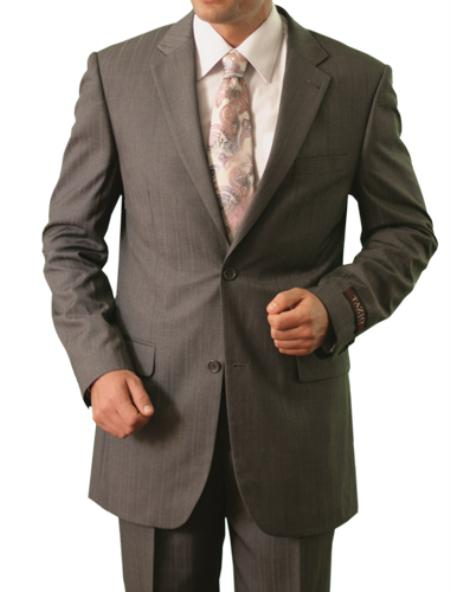 2 Button Grey Front Closure Notch Lapel Suit Mens Cheap