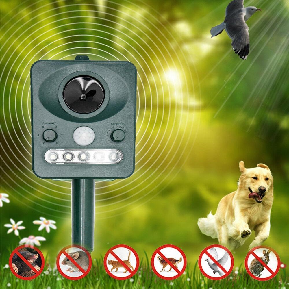Solar Powered Animal Repeller Outdoor with LED Flash Light Ultrasonic Dog Rats Repellent Mice Motion Sensor Deterrent De