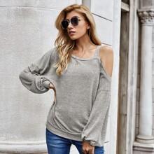 Sweatshirt mit asymmetrischem Kragen und Bischofaermeln