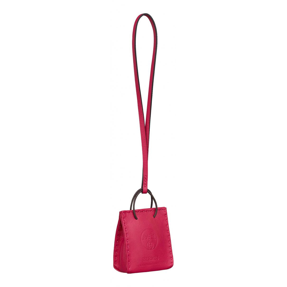 Hermes Shopping bag charm Taschenschmuck in  Rosa Leder