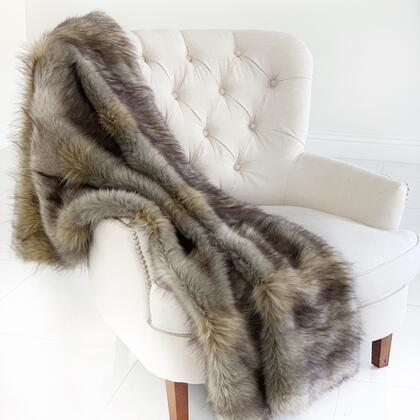 Wolverine Pelage Collection PBSF1512-4860-TC 48W x 60L Gray Plush Handmade Luxury Faux Fur