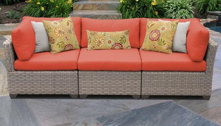 Monterey Collection MONTEREY-03b-TANGERINE 3-PC Patio Sofa with 2 Corner Chairs and 1 Armless Chair - Beige and Tangerine