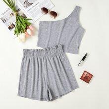 One Shoulder Top & Paper Bag Waist Shorts