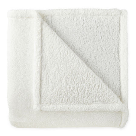 Home Expressions Teddy Sherpa Blanket, One Size , White