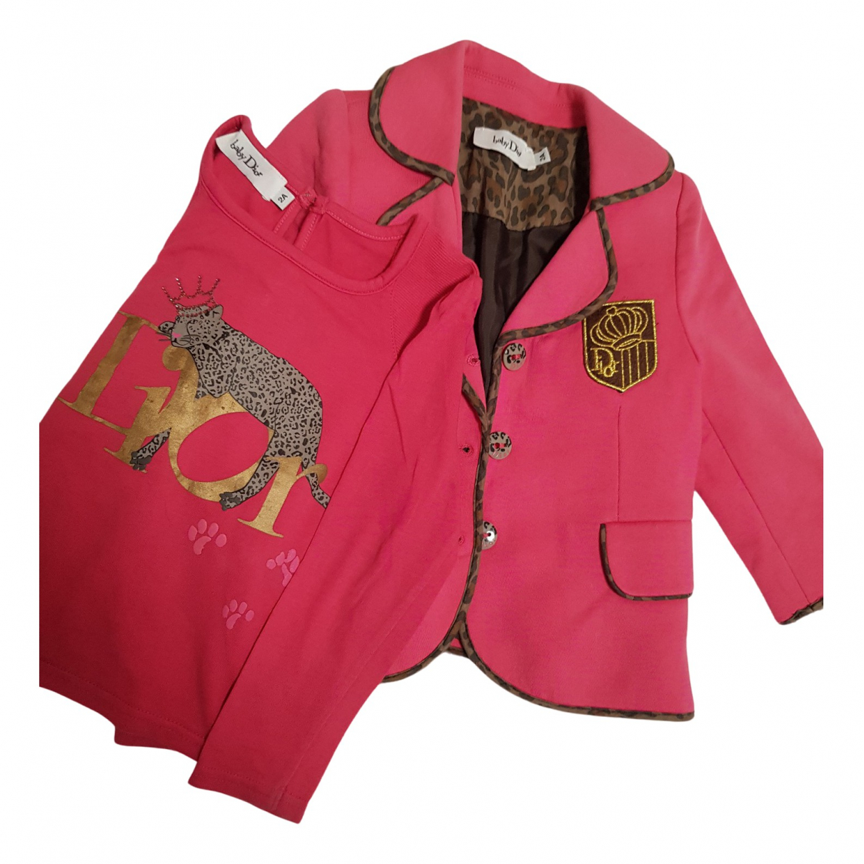 Dior N Pink Cotton Outfits for Kids 2 years - up to 86cm FR