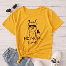 T-Shirt mit Alpaka und Buchstaben Grafik