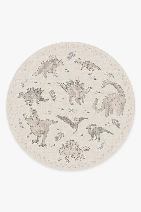 Washable Rug Cover   Dinosaur Parade Warm Grey Rug   Stain-Resistant   Ruggable   8' Round