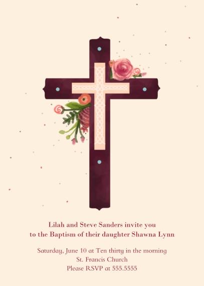 Christening + Baptism Mail-for-Me Premium 5x7 Folded Card , Card & Stationery -Pink Baptism