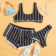 3 Stuecke Maedchen Bikini Badeanzug mit Streifen, Buchstaben Muster und Band