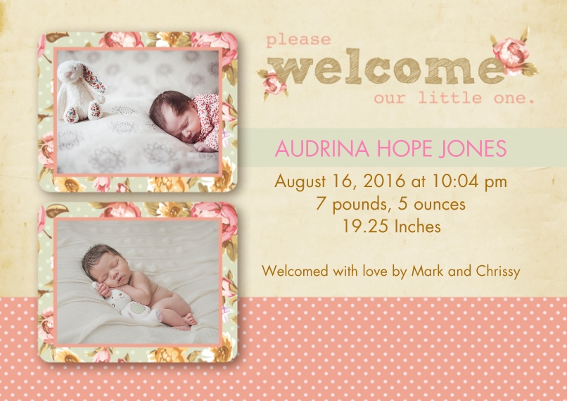 Newborn Flat Matte Photo Paper Cards with Envelopes, 5x7, Card & Stationery -Floral and Dots Birth Announcement